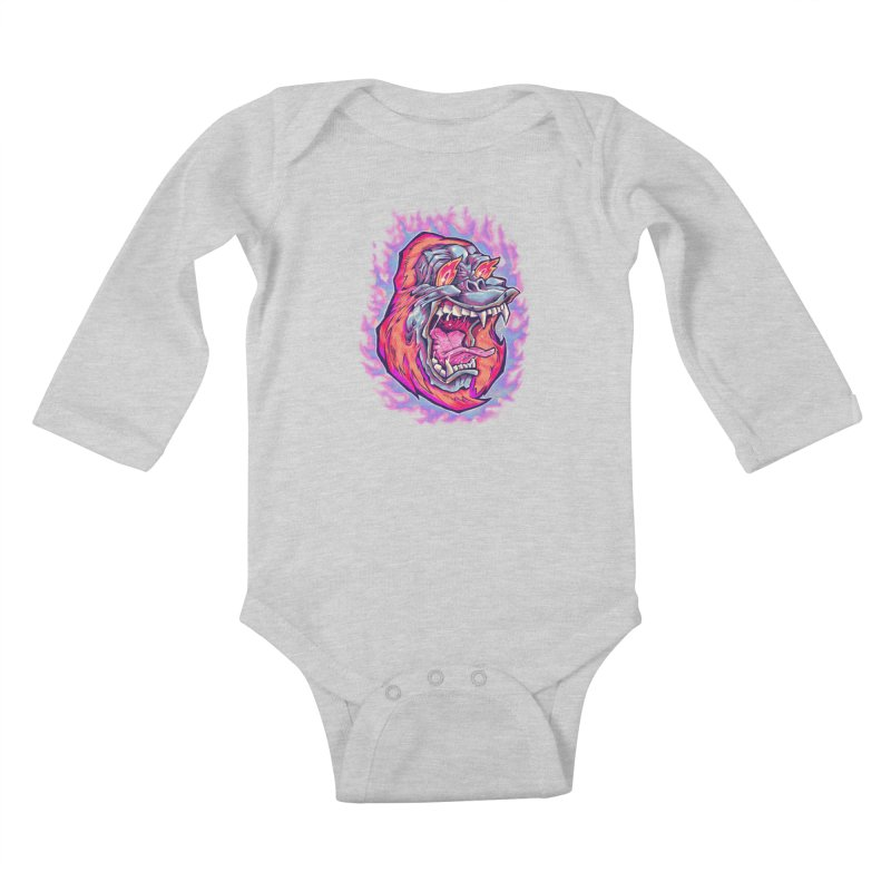Burning Ape Kids Baby Longsleeve Bodysuit by villainmazk's Artist Shop