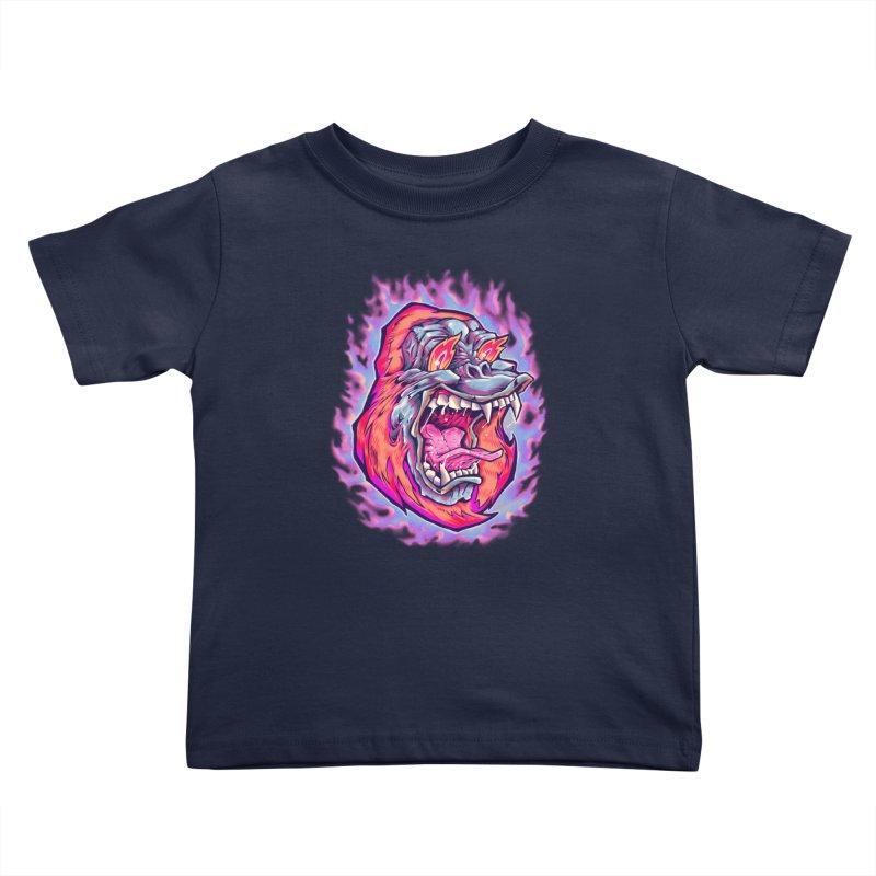 Burning Ape Kids Toddler T-Shirt by villainmazk's Artist Shop