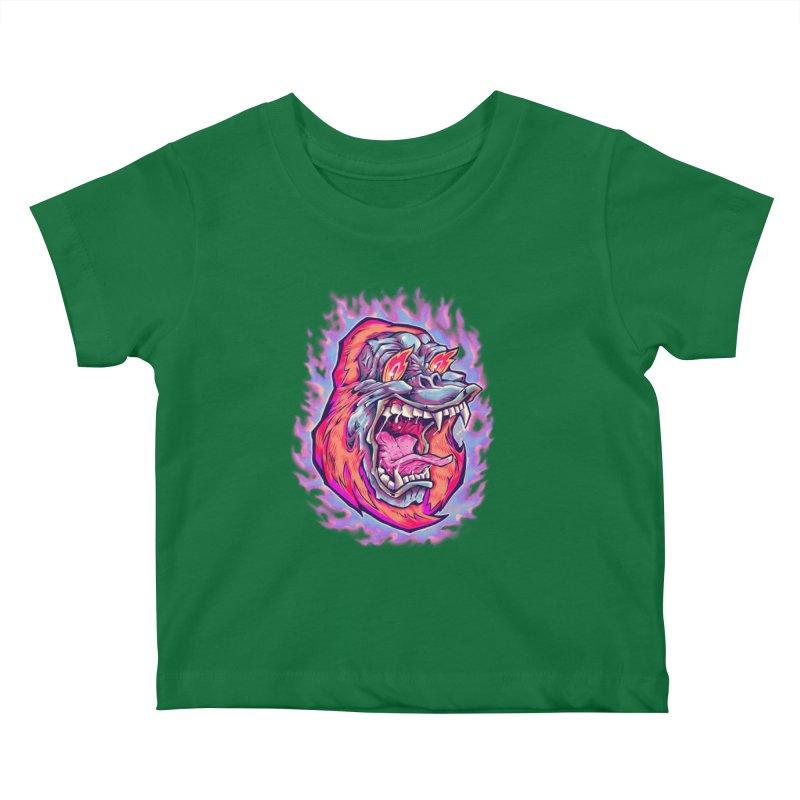 Burning Ape Kids Baby T-Shirt by villainmazk's Artist Shop