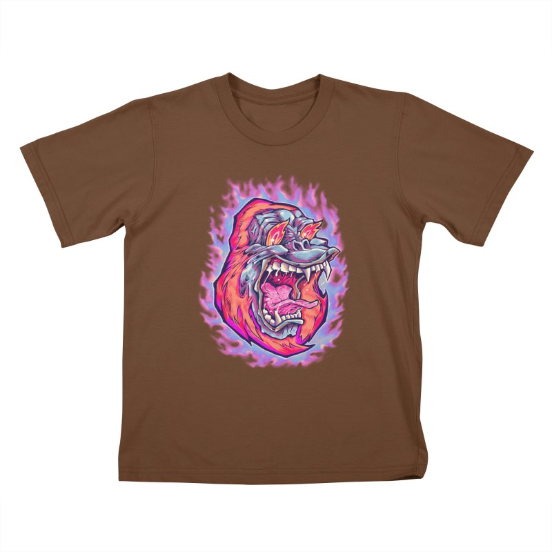 Burning Ape Kids T-Shirt by villainmazk's Artist Shop