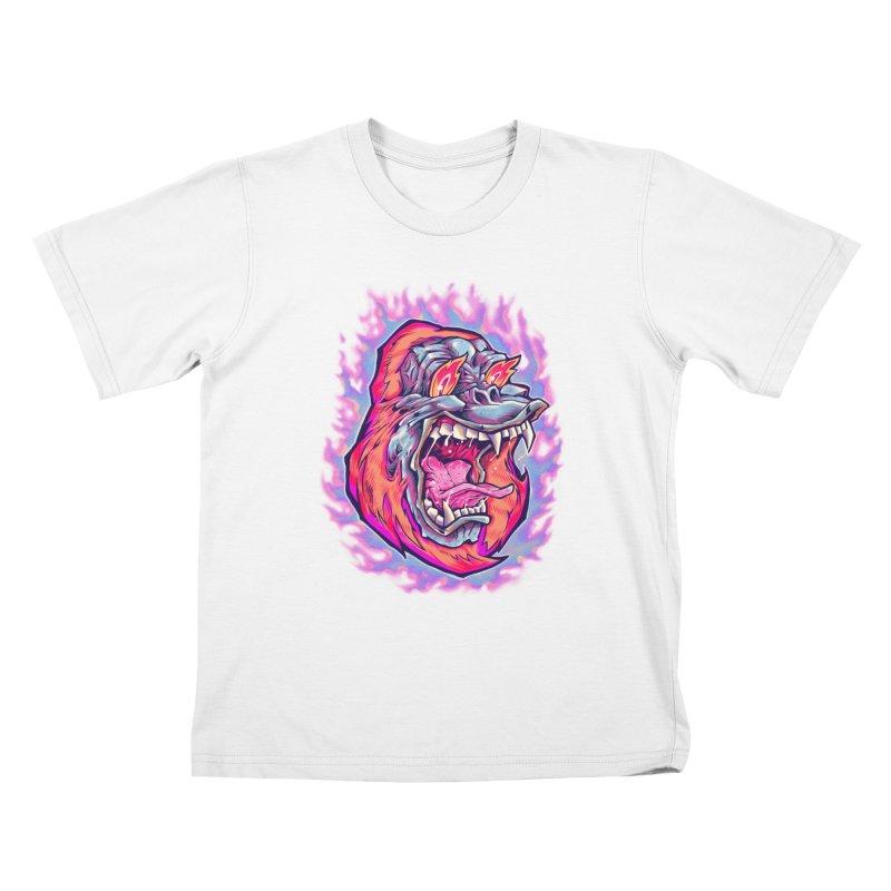 Burning Ape Kids T-Shirt by villainmazk's Artist Shop