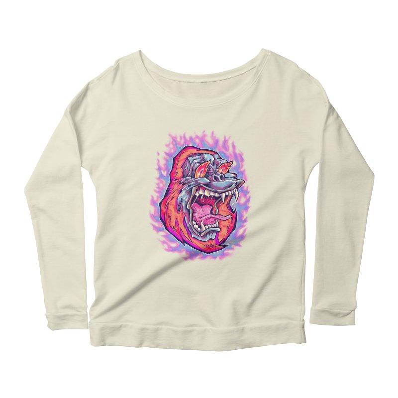 Burning Ape Women's Scoop Neck Longsleeve T-Shirt by villainmazk's Artist Shop