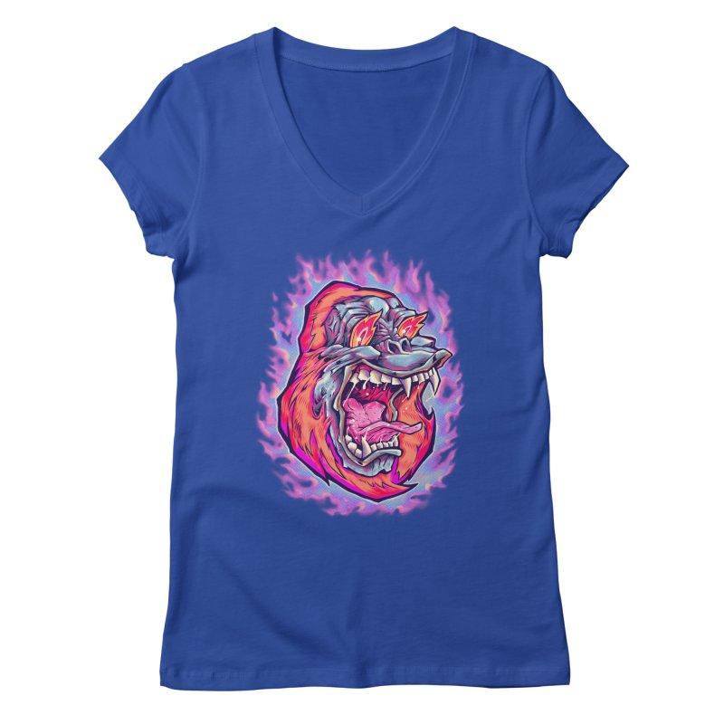Burning Ape Women's Regular V-Neck by villainmazk's Artist Shop