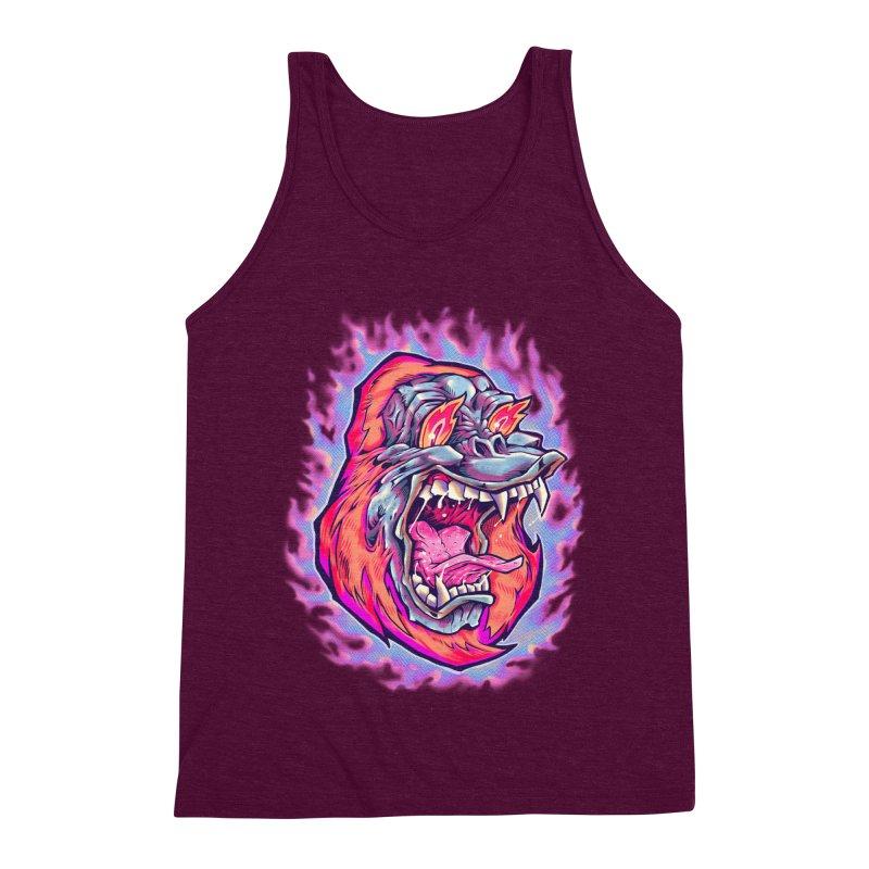 Burning Ape Men's Triblend Tank by villainmazk's Artist Shop