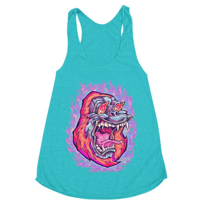 Burning Ape Women's Racerback Triblend Tank by villainmazk's Artist Shop