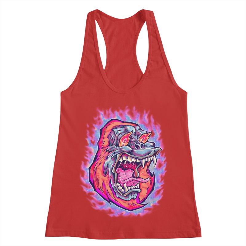 Burning Ape Women's Racerback Tank by villainmazk's Artist Shop