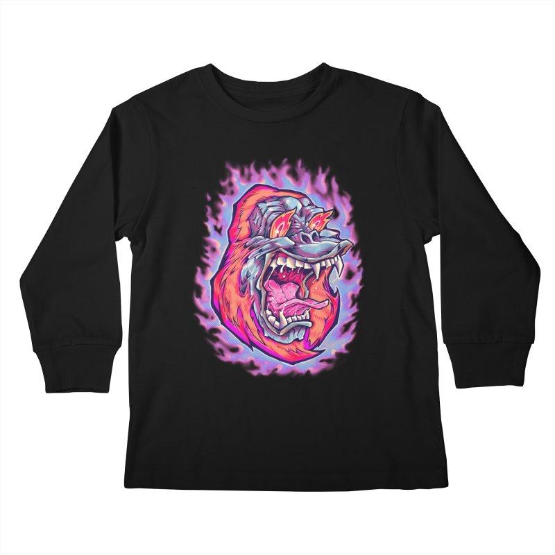 Burning Ape Kids Longsleeve T-Shirt by villainmazk's Artist Shop