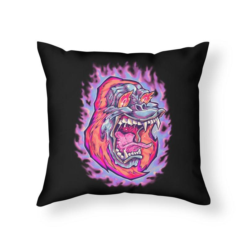 Burning Ape Home Throw Pillow by villainmazk's Artist Shop