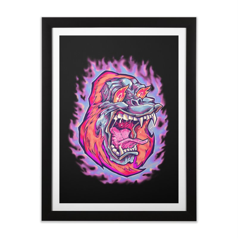 Burning Ape Home Framed Fine Art Print by villainmazk's Artist Shop