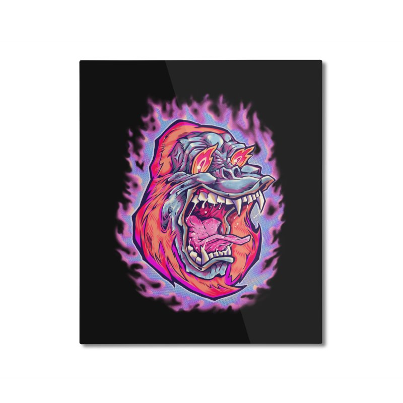 Burning Ape Home Mounted Aluminum Print by villainmazk's Artist Shop