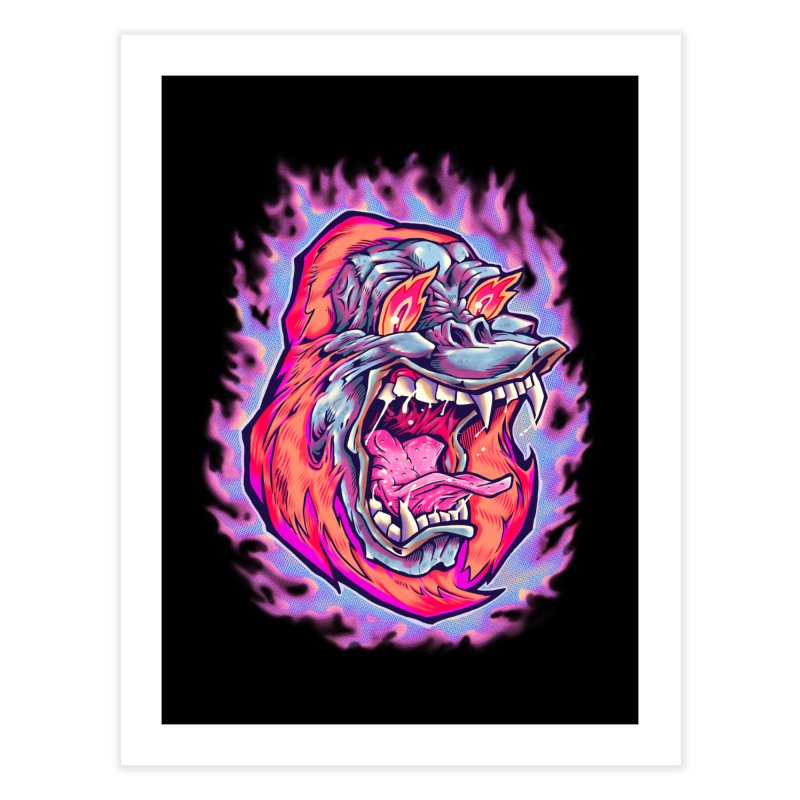 Burning Ape Home Fine Art Print by villainmazk's Artist Shop