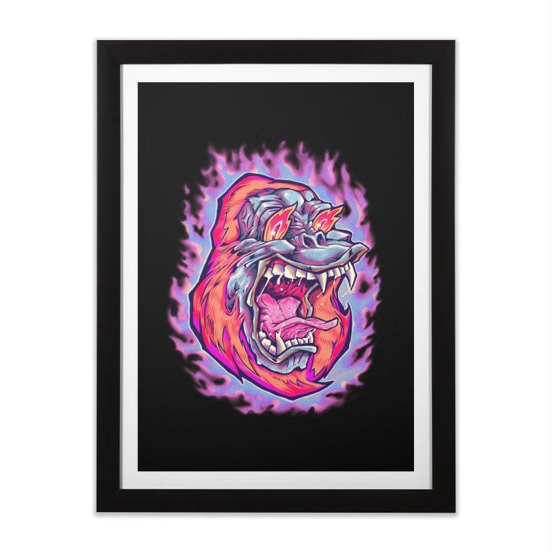 Burning Ape Home Framed Fine Art Print by villainmazk's Artist Shop