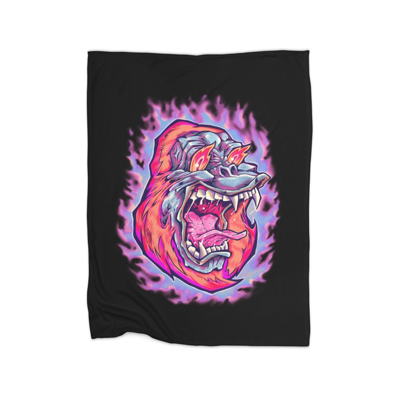 Burning Ape Home Fleece Blanket Blanket by villainmazk's Artist Shop
