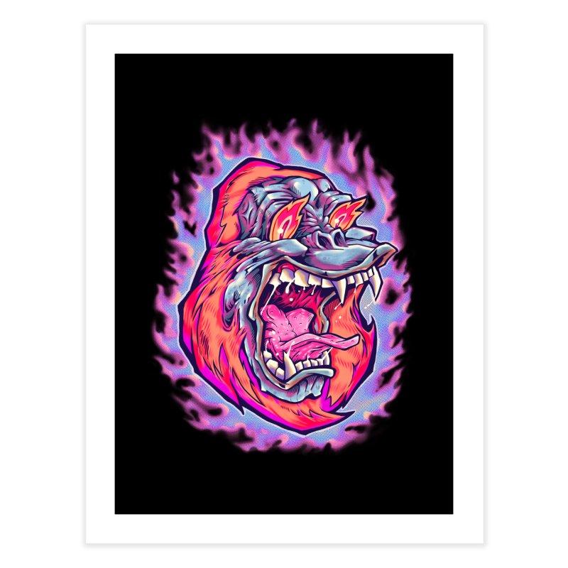 Burning Ape Home Fine Art Print by villainmazk's Artist Shop
