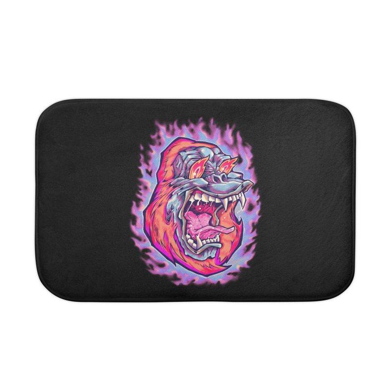 Burning Ape Home Bath Mat by villainmazk's Artist Shop