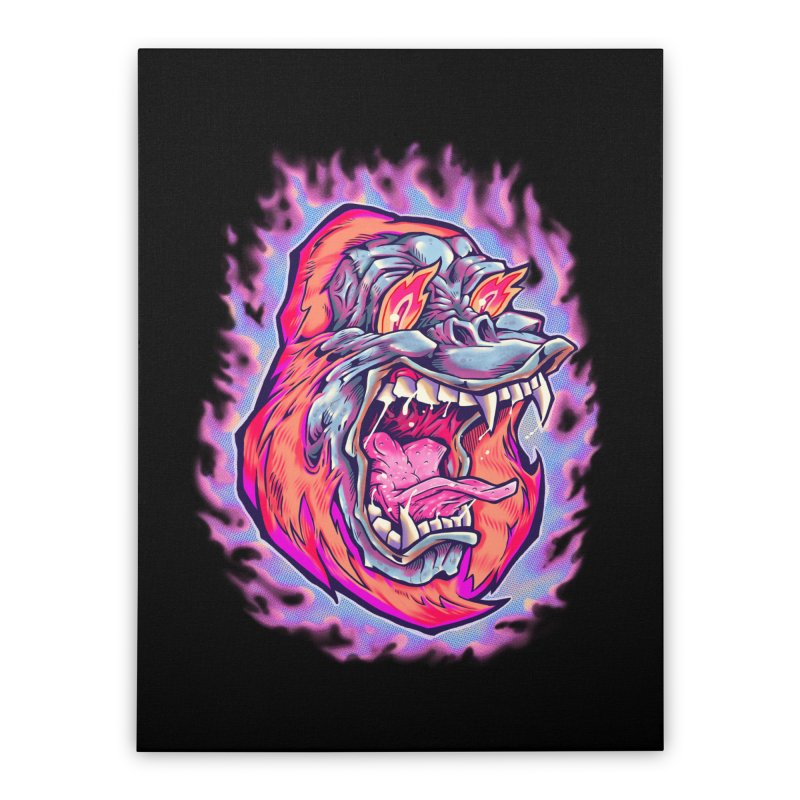 Burning Ape Home Stretched Canvas by villainmazk's Artist Shop