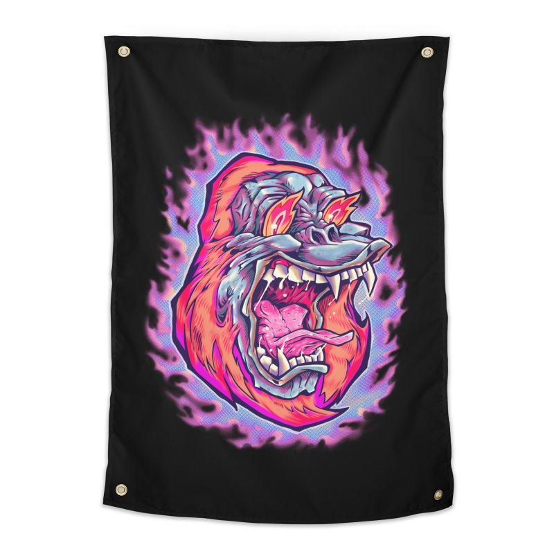 Burning Ape Home Tapestry by villainmazk's Artist Shop
