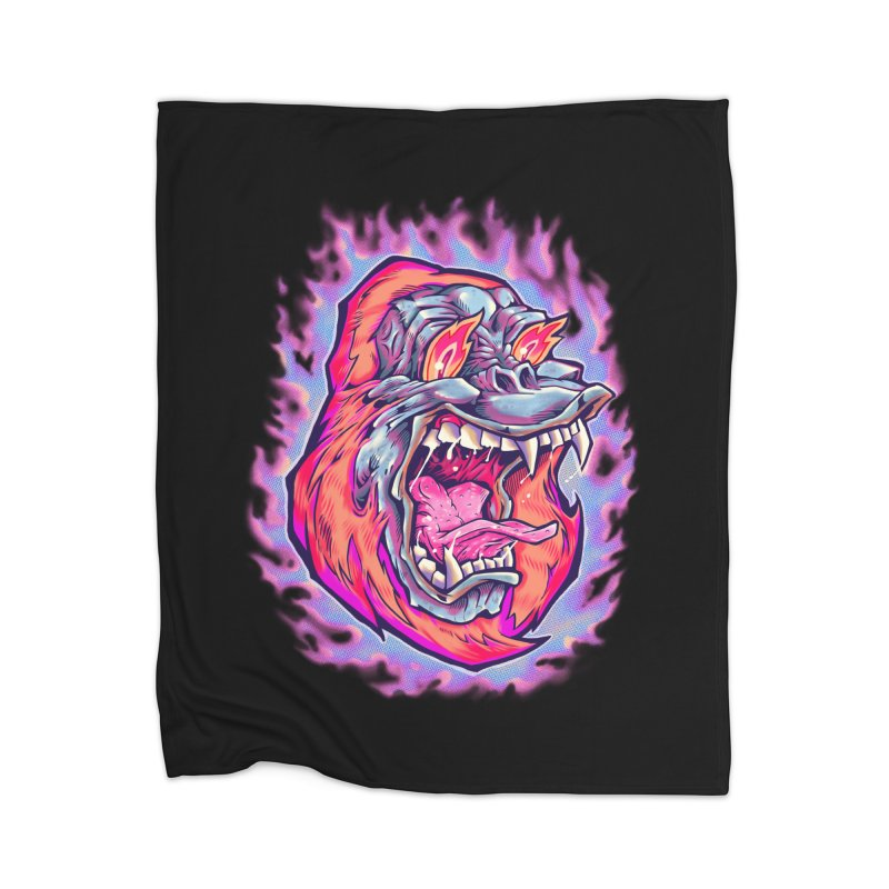 Burning Ape Home Blanket by villainmazk's Artist Shop