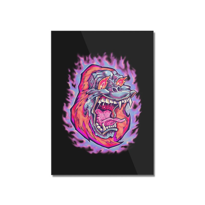 Burning Ape Home Mounted Acrylic Print by villainmazk's Artist Shop