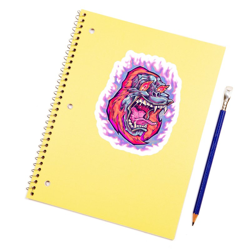 Burning Ape Accessories Sticker by villainmazk's Artist Shop