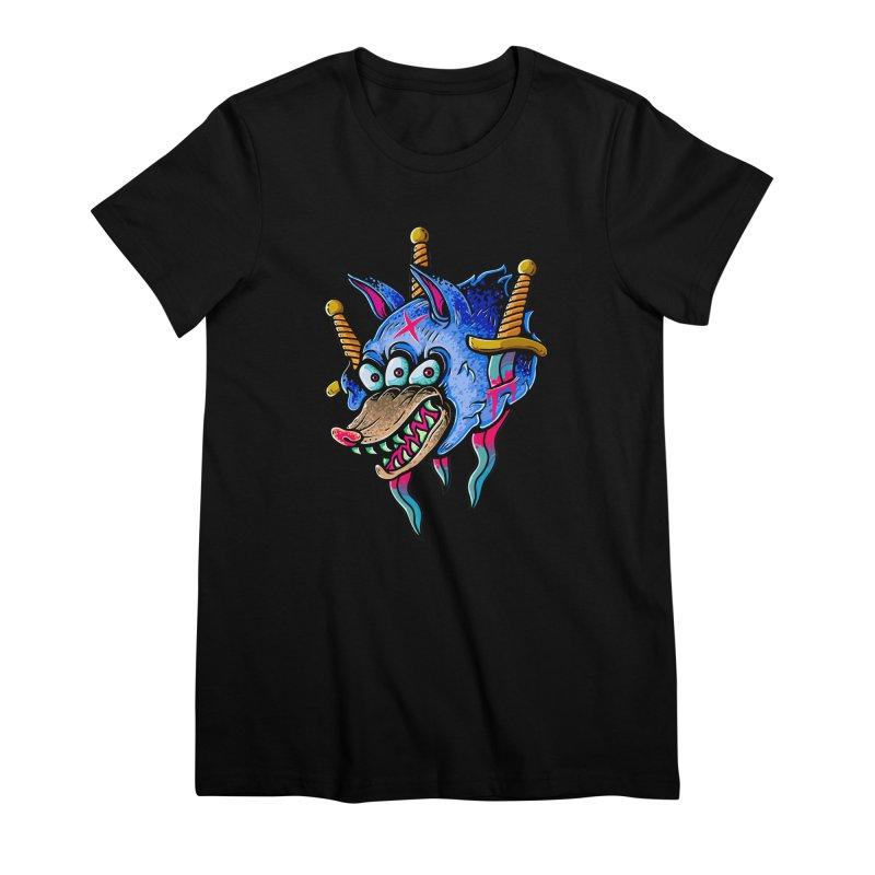 Evil Wolf Women's Premium T-Shirt by villainmazk's Artist Shop