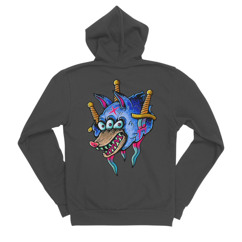 Evil Wolf Women's Sponge Fleece Zip-Up Hoody by villainmazk's Artist Shop