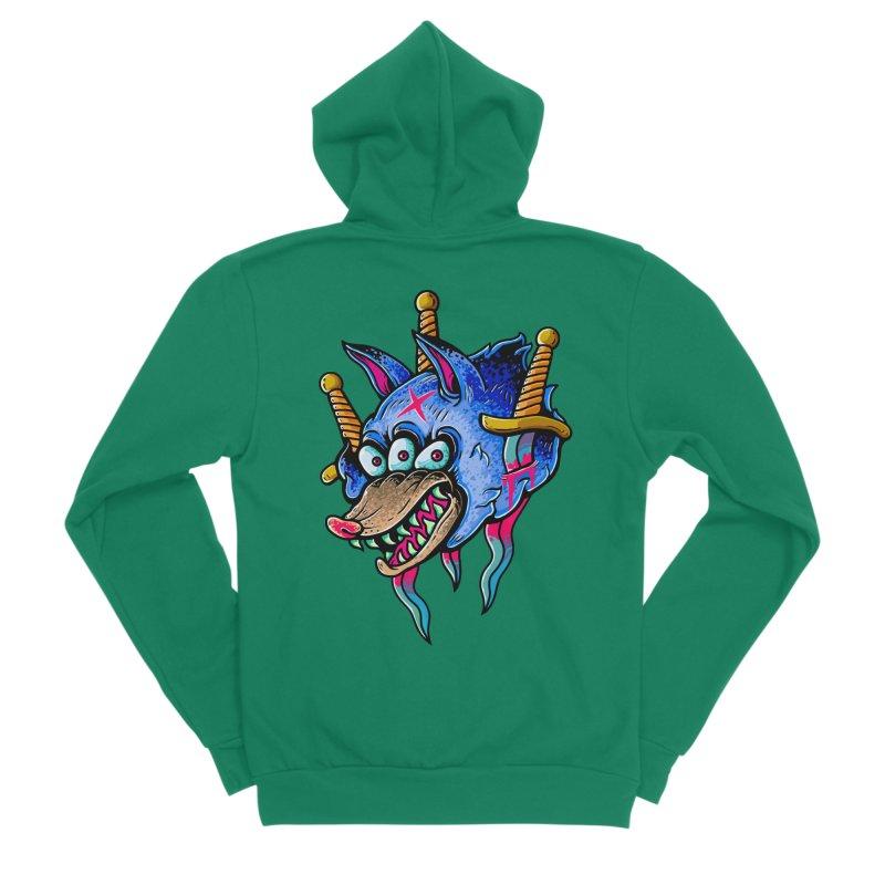 Evil Wolf Men's Sponge Fleece Zip-Up Hoody by villainmazk's Artist Shop