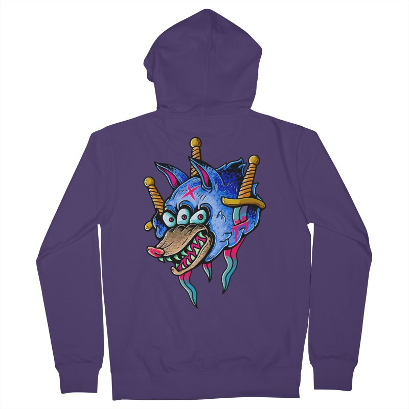 Evil Wolf Women's French Terry Zip-Up Hoody by villainmazk's Artist Shop