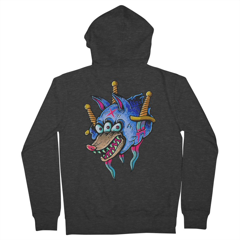 Evil Wolf Men's French Terry Zip-Up Hoody by villainmazk's Artist Shop
