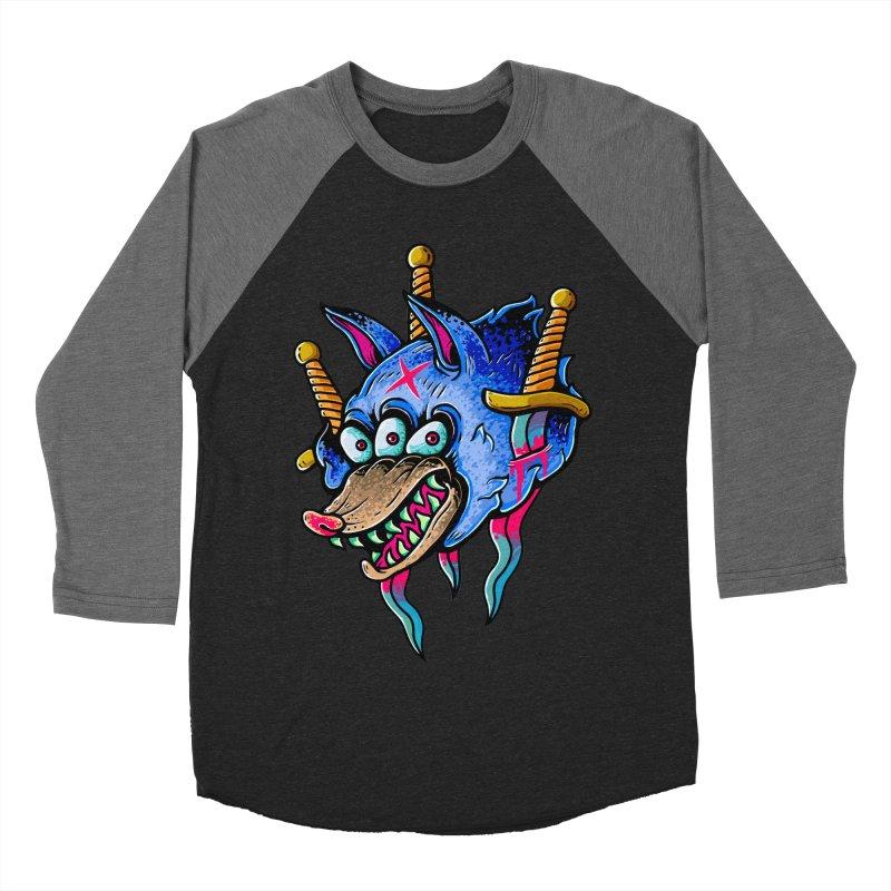 Evil Wolf Men's Baseball Triblend Longsleeve T-Shirt by villainmazk's Artist Shop
