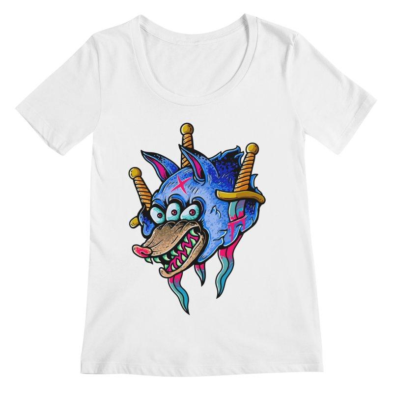 Evil Wolf Women's Regular Scoop Neck by villainmazk's Artist Shop