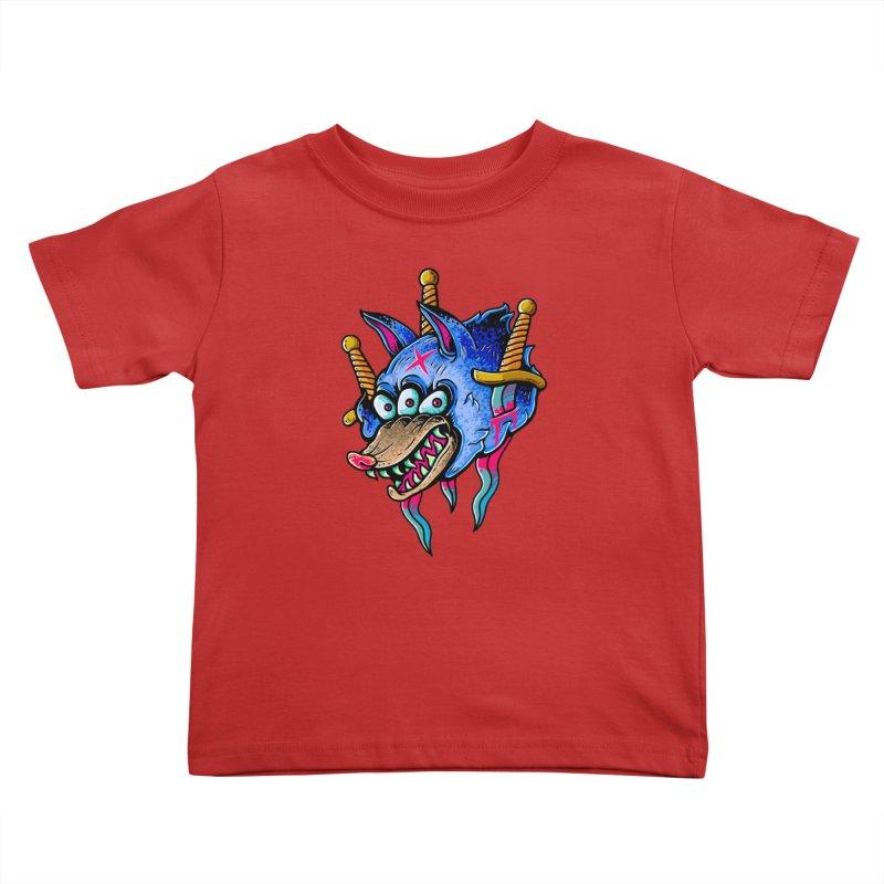 Evil Wolf Kids Toddler T-Shirt by villainmazk's Artist Shop