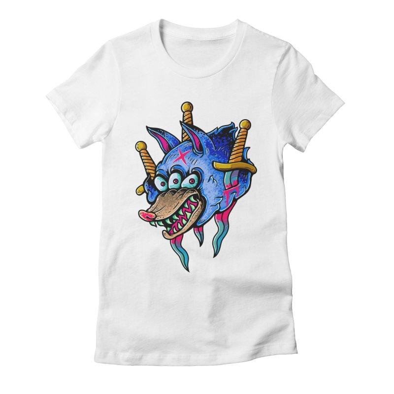 Evil Wolf Women's Fitted T-Shirt by villainmazk's Artist Shop