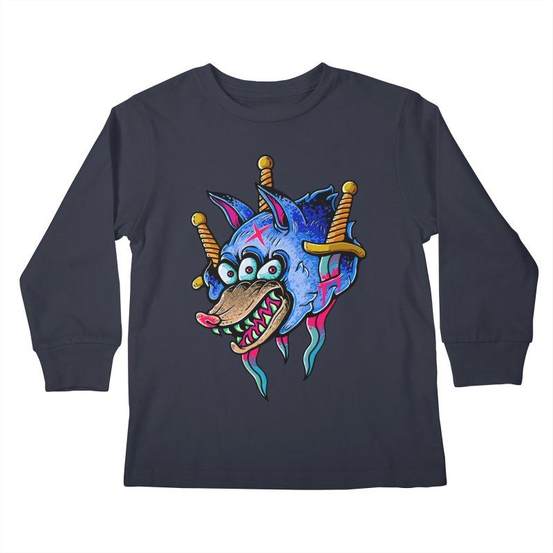 Evil Wolf Kids Longsleeve T-Shirt by villainmazk's Artist Shop