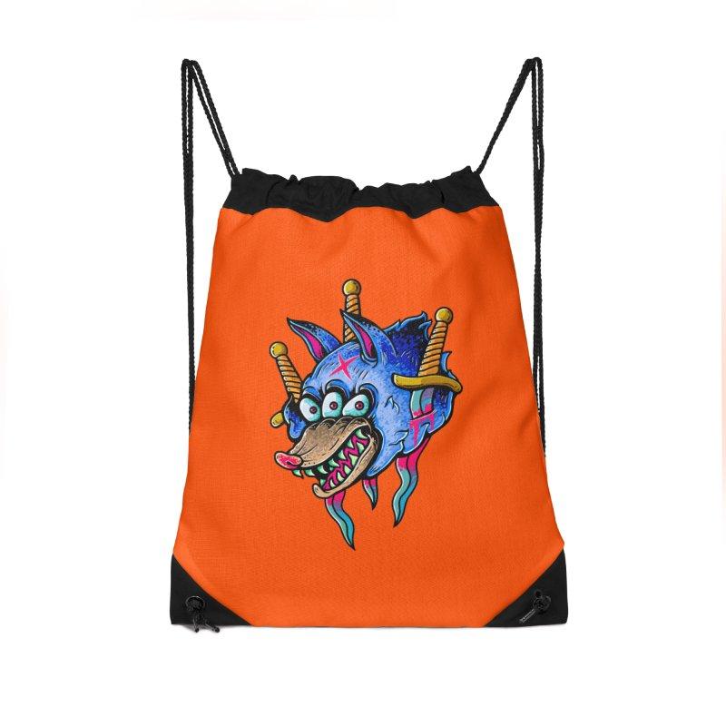 Evil Wolf Accessories Drawstring Bag Bag by villainmazk's Artist Shop