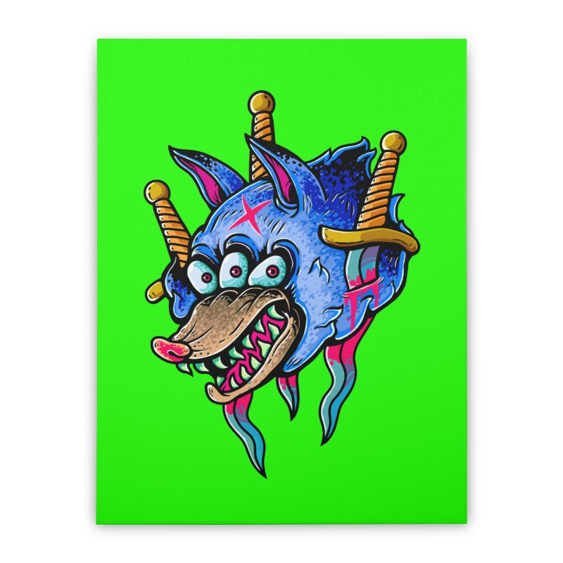Evil Wolf Home Stretched Canvas by villainmazk's Artist Shop