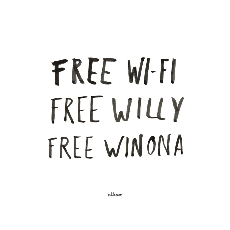 FREE WIFI, FREE WINONA Women's T-Shirt by villaraco's Artist Shop