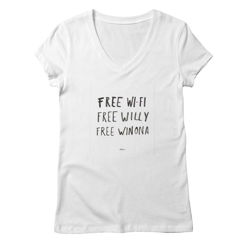 FREE WIFI, FREE WINONA Women's V-Neck by villaraco's Artist Shop