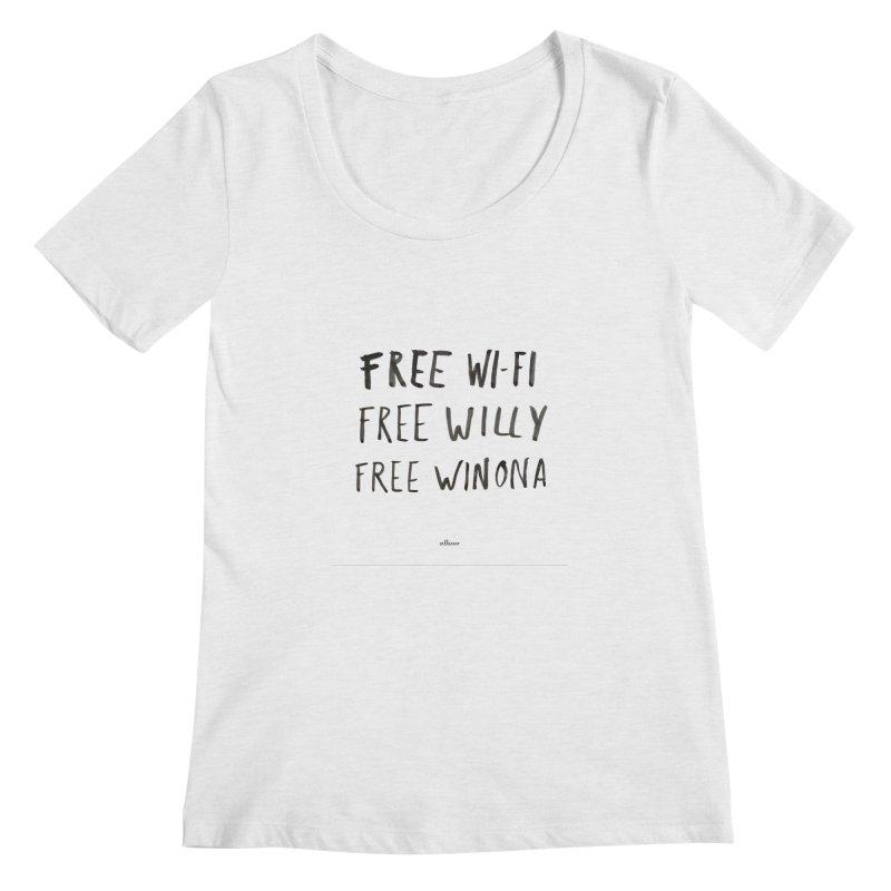 FREE WIFI, FREE WINONA Women's Regular Scoop Neck by villaraco's Artist Shop