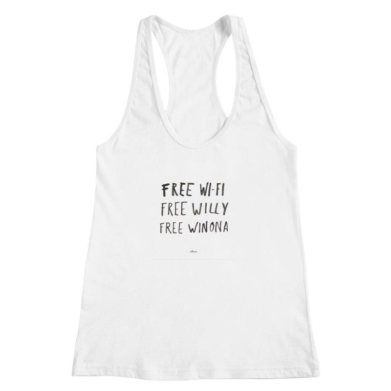 FREE WIFI, FREE WINONA Women's Racerback Tank by villaraco's Artist Shop