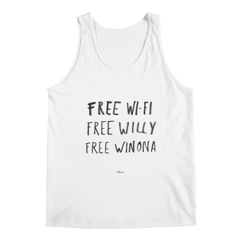FREE WIFI, FREE WINONA Men's Regular Tank by villaraco's Artist Shop