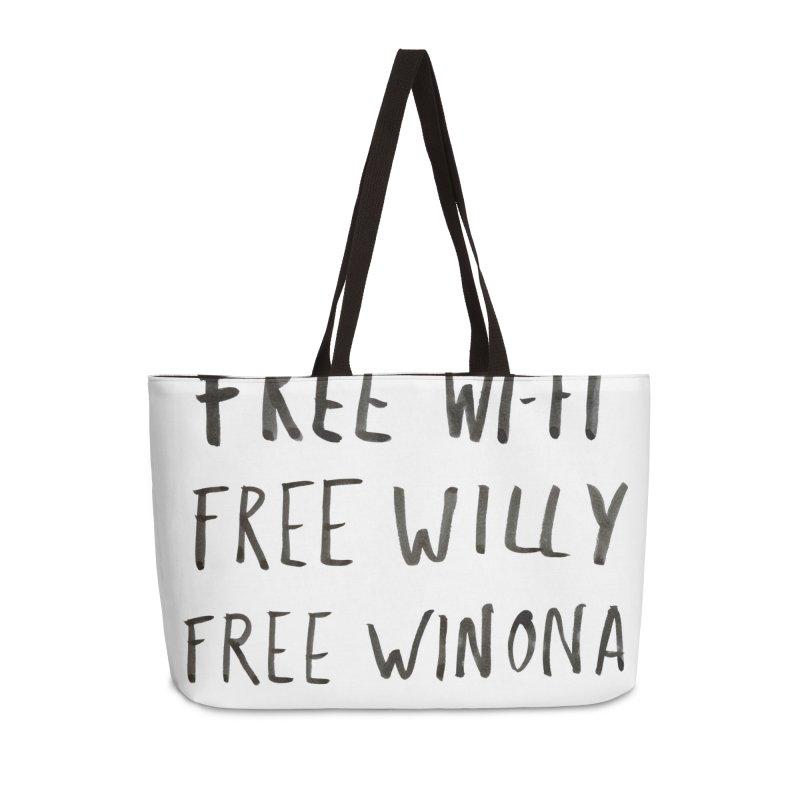 FREE WIFI, FREE WINONA Accessories Weekender Bag Bag by villaraco's Artist Shop