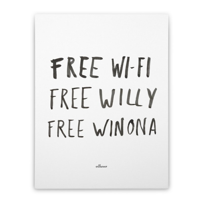 FREE WIFI, FREE WINONA Home Stretched Canvas by villaraco's Artist Shop