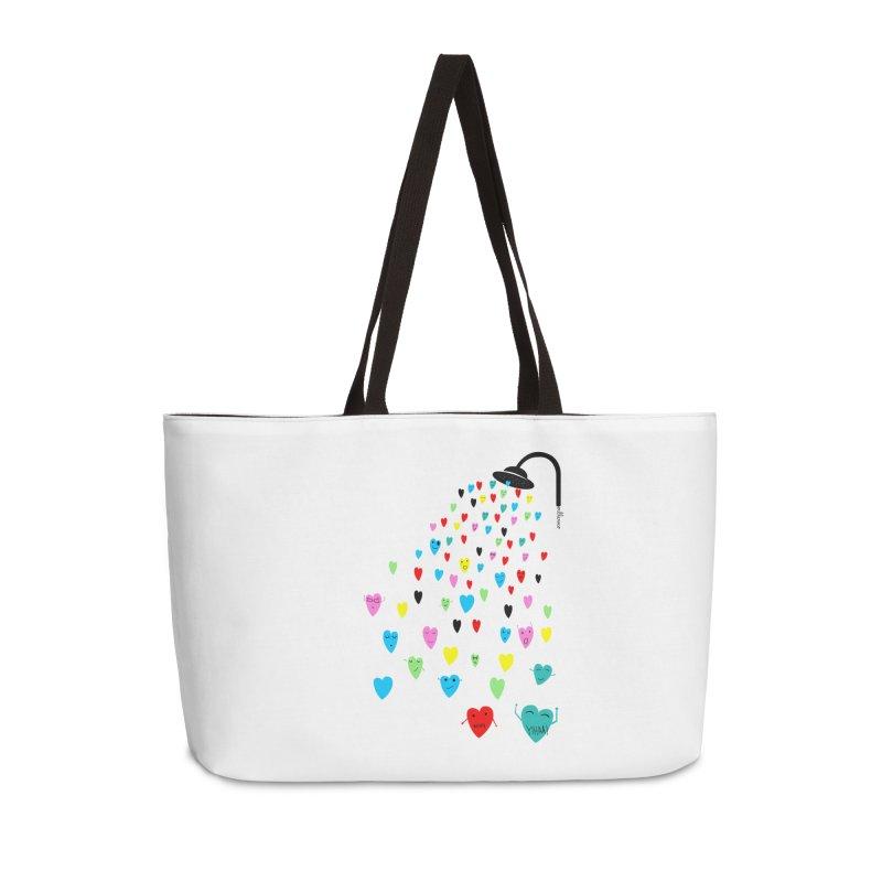 Love Shower Accessories Weekender Bag Bag by villaraco's Artist Shop