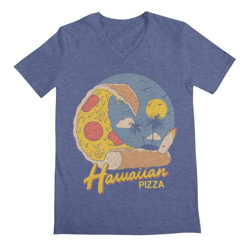 Hawaiian Pizza Men's Regular V-Neck by Vincent Trinidad Art