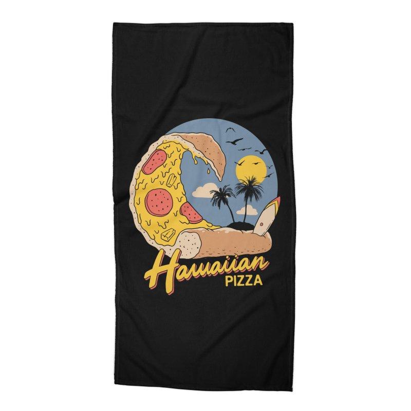 Hawaiian Pizza Accessories Beach Towel by Vincent Trinidad Art