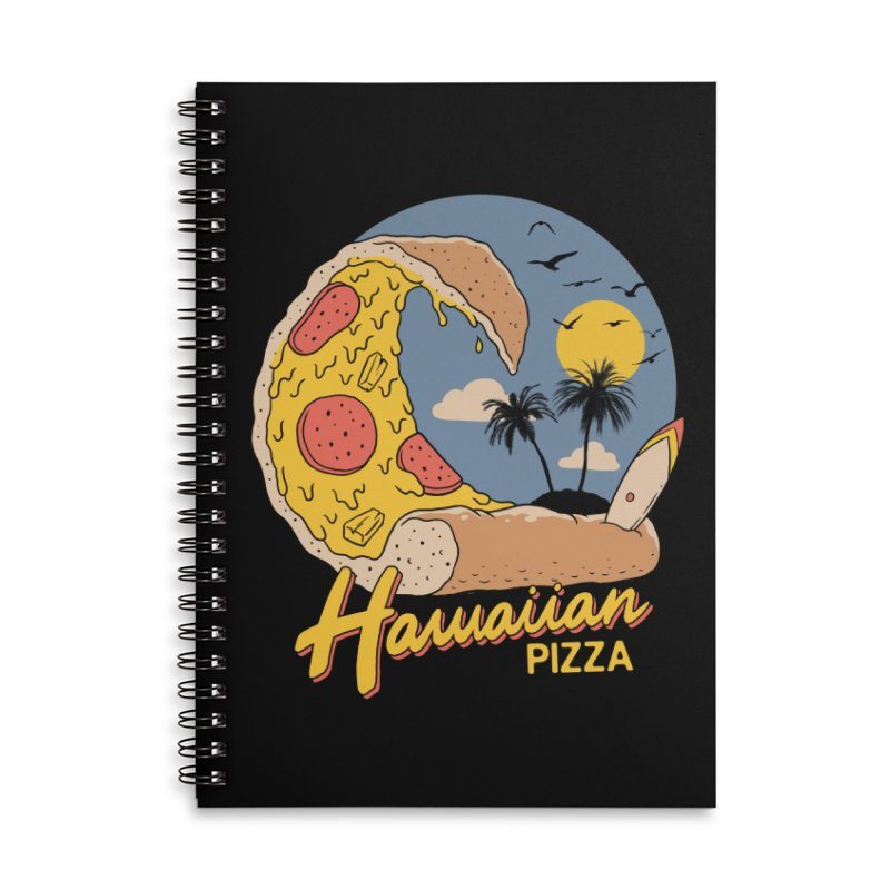 Hawaiian Pizza Accessories Lined Spiral Notebook by Vincent Trinidad Art