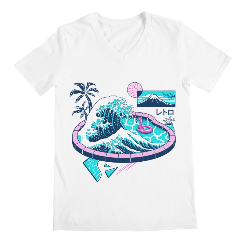 Vapor Wave Pool Men's Regular V-Neck by Vincent Trinidad Art