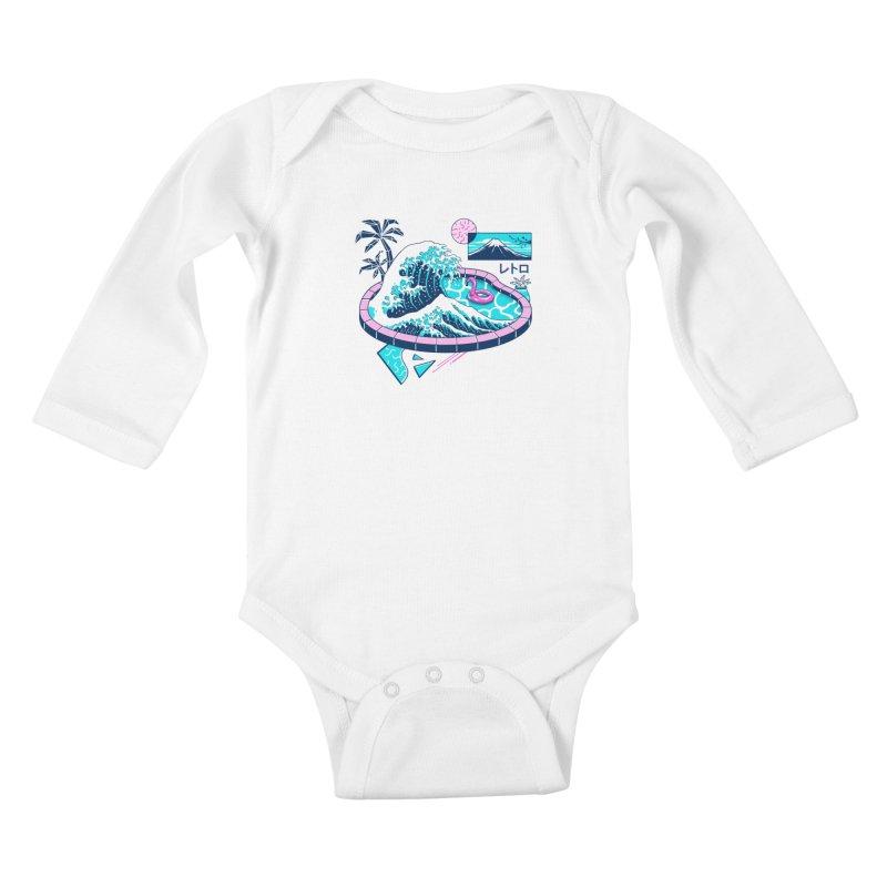 Vapor Wave Pool Kids Baby Longsleeve Bodysuit by Vincent Trinidad Art