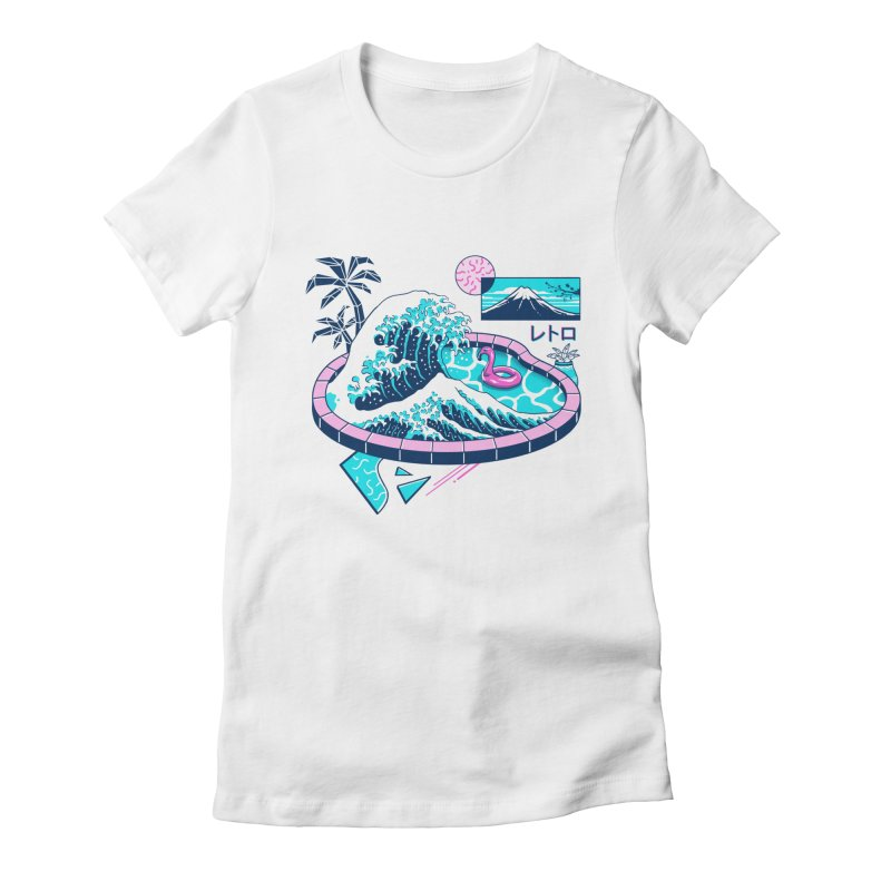 Vapor Wave Pool Women's Fitted T-Shirt by Vincent Trinidad Art